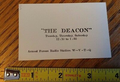 Vintage Armed Forces Radio Station Business Card Wvtq  The Deacon  Japan