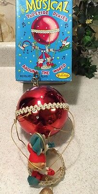RARE Vtg Japan CHRISTMAS Yuletide Pixie ELVES Elf Ornaments Metallic BalloOn