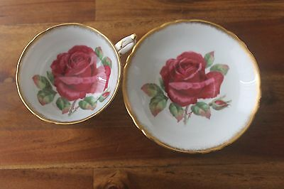 Paragon Wide Cabbage Rose Teacup Tea cup saucer signed R Johnson Gold Red Cream