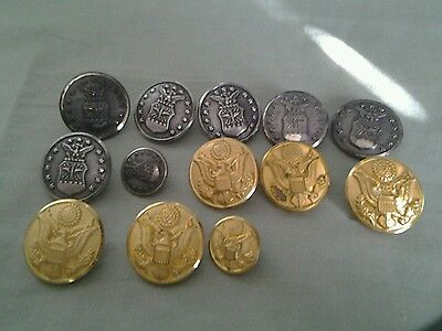 13 vintage Military uniform buttons Gold Eagle and Air Force mb3