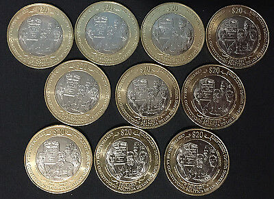 MEXICO NEW 2017 $20 BIMETALLIC coin Constitution centy LOT OF 10 COINS BU state