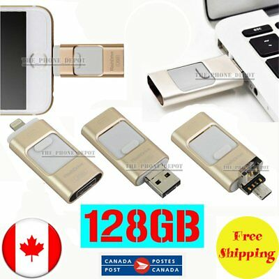 128GB Gold i-Flash Drive OTG Disk USB Memory Stick For iPhone iOS Android PC CA