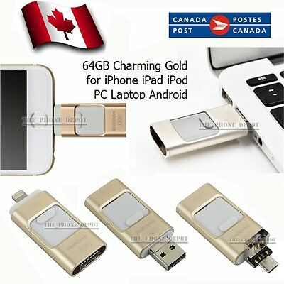 64GB Gold i-Flash Drive OTG Device USB Memory Stick For iPhone Android PC Canada