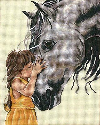 Little Kisses - Girl with Horse - Cross Stitch Chart - Free Postage