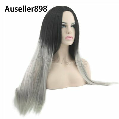 *Women Long Straight Full Wig Heat Resistant Hair Black Ombre Grey Party Wigs*