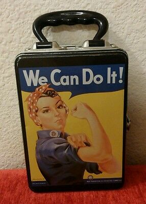 Collectible Rosie Riveter Storage Empty Lunch Box Tin