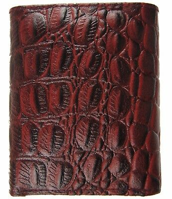 Men's Genuine Leather Ostrich skin Embossed Trifold Cowboy Wallet New Red