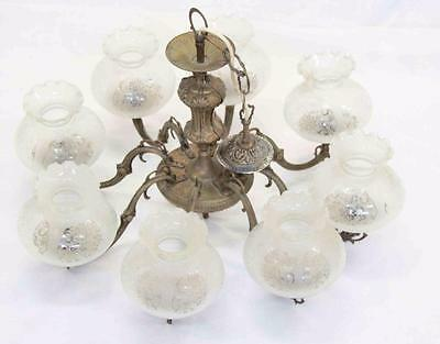 Antique Large Brass Chandelier With 8 Glass Shades Ceiling Light Fixture #11074