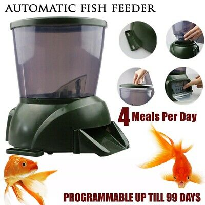 NEW 4.25L Automatic Pond Fish Feeder Digital Food Dispenser Timer Tank Holiday
