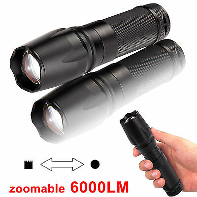 Super Bright 6000Lm T6 LED Flashlight Torch Lamp Light Camping Home Adjust Focus