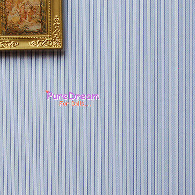 Dollhouse Wall Paper With Blue And White Stripes 1Roll 45cm x 10m  OW002B