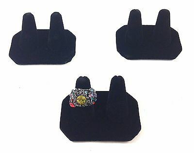 3pc Black Velvet Double Finger Ring Combo Stand Jewelry Showcase Display