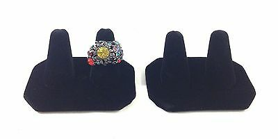 2pc Black Velvet Double Finger Ring Combo Stand Jewelry Showcase Display