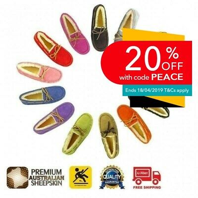 Clearance - UGG Ladies Classic Lace Moccasins Loafer Flats, Australian Sheepskin