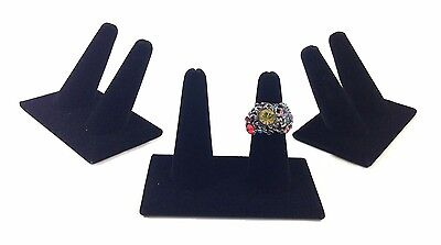 3pc Black Velvet Double Finger Ring Combo Stand Jewelry Showcase Display 2