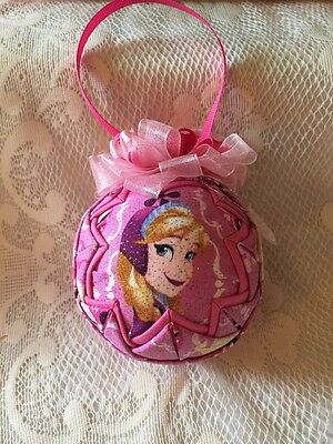 Quilted Christmas Ornament. Disney Frozen Anna Bow. Homemade.