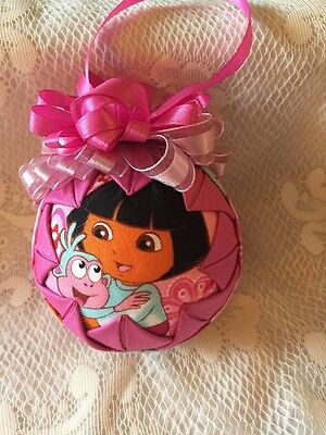 Quilted Christmas Ornament. Dora, Pinks. Bow. Homemade.