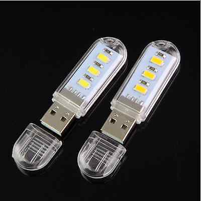 2PCS Mini Portable Bright 3 LED Night Light USB Lamp for PC Laptop Reading