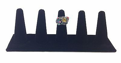 Black Velvet Five Finger Ring Combo Stand Jewelry Showcase Display