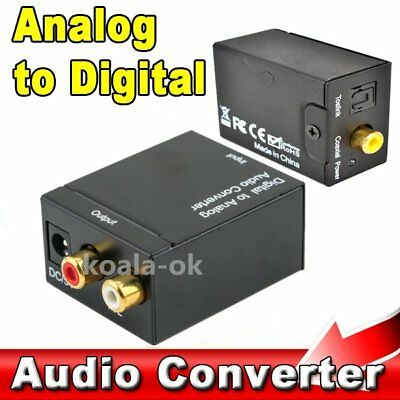 RCA Digital Optical Coax Coaxial Toslink to Analog Audio Converter Adapter yde
