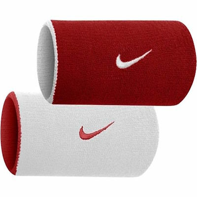Nike Dri Fit Home Away Doublewide Wristbands Reversible RED WHITE OSFM Unisex