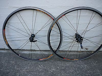 A set of Rolf VECTOR road bike wheels - shimano compatable 8, 9 ,or 10 speed hub