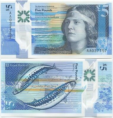 Royal Bank of Scotland 5 Pounds 2016 UNC, Polymer, New design, AA prefix