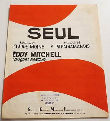 Partition vintage sheet music EDDY MITCHELL  : Seul * 60's