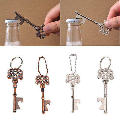 Vintage Metal Key Shaped Keychain Beer Bottle Opener Keyring Bar Tools Portable