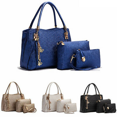 3pcs Fashion Women Leather Handbag Shoulder Bag Messenger Satchel Purse Tote AU