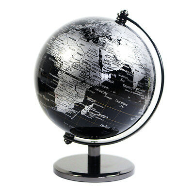 AT0904QF Vintage BLACK Decorative Desktop Rotating Geography World Map Globe