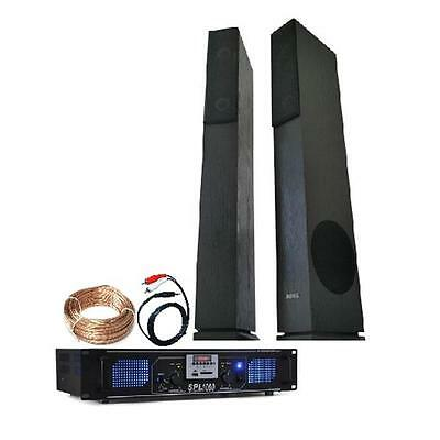 Home Hifi Stereo Tower Speakers Mp3 Amplifier Sd Fm Connect Laptop 1500W Bundle
