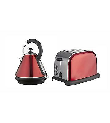 Breakfast Twin Pack Set Pyramid Kettle & Toaster in Stainless steel Metalic Red