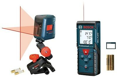 Bosch 100 ft Laser Measure and Self Leveling Cross-Line Laser, Two Laser Combo