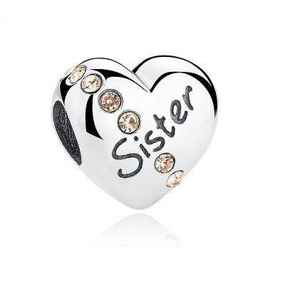 S925 Sterling Silver EURO Charm Sister Heart Champagne CZ +FREE Pandora Cloth