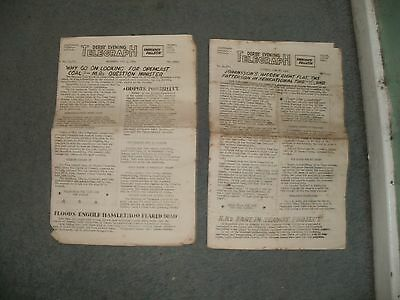 2 Emergency Bulletins from the Derby Evening Telegraph newspaper from 1959