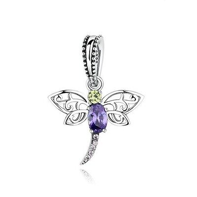 S925 Sterling Silver EURO Sparkly Dragonfly Pendant Charm CZ +FREE Pandora Cloth