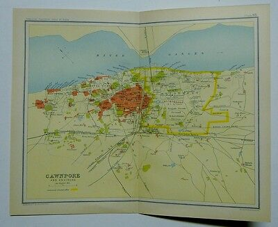 EX IMPERIAL GAZETTEER INDIA Antique Map of Cawnpore and Environs 1931
