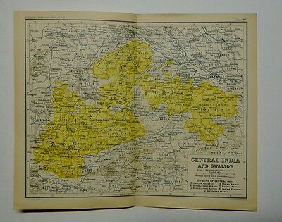 EX IMPERIAL GAZETTEER INDIA Antique Map of Central India and Gwalior 1931