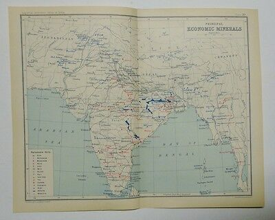 EX IMPERIAL GAZETTEER INDIA Antique Map of India  Principal Economic Minerals 19