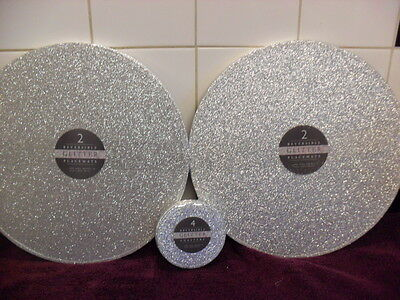 Round Large Silver Reversible Placemats & Coaster Set  x 4 Size 13""