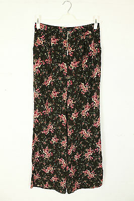 VINTAGE 90s DOES 70s FLARES TROUSERS BROWN FLORAL PRINT HIGH WAIST WOMENS 10 12