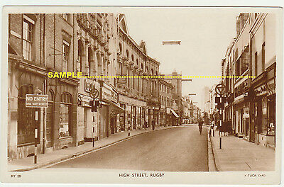 Rugby C1950s Real Photo High St STREET SCENE, Shops, Cyclist etc Warwickshire