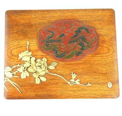 Antique Chinese Japanese Wood Box Applied Flowers & Pheonix Signed Mother Pearl
