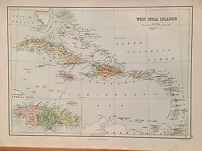 1882 West Indies Caribbean By A & C Black Coloured Antique Map 134 Years Old
