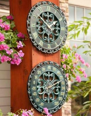 2pc SET OUTDOOR SCROLL CLOCK & THERMOMETER SET Lawn Garden Deck Patio Decor