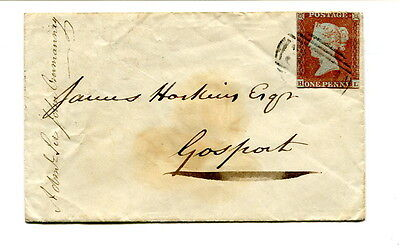 """1845 1d red imperforate small cover """"320"""" Gosport cancel used locally Havant b/s"""