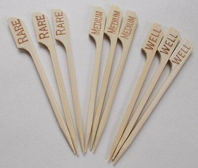 BAMBOO STEAK MARKER PICKS SET RARE MEDIUM WELL 9cm RECYCLABLE MADE FROM NATURE