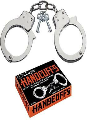 Deluxe Handcuffs With 2 Keys Metal For Magic Tricks Escape Novelty Costume Fancy