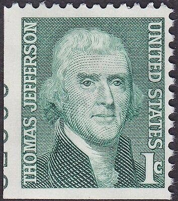 US - 1968 - 1 Cent Green Thomas Jefferson Miscut Stamp # 1278 w/ Plate Number